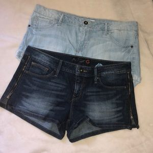 2 pairs of Guess jean shorts